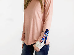 Floral & Lace Cuff Tunic Top