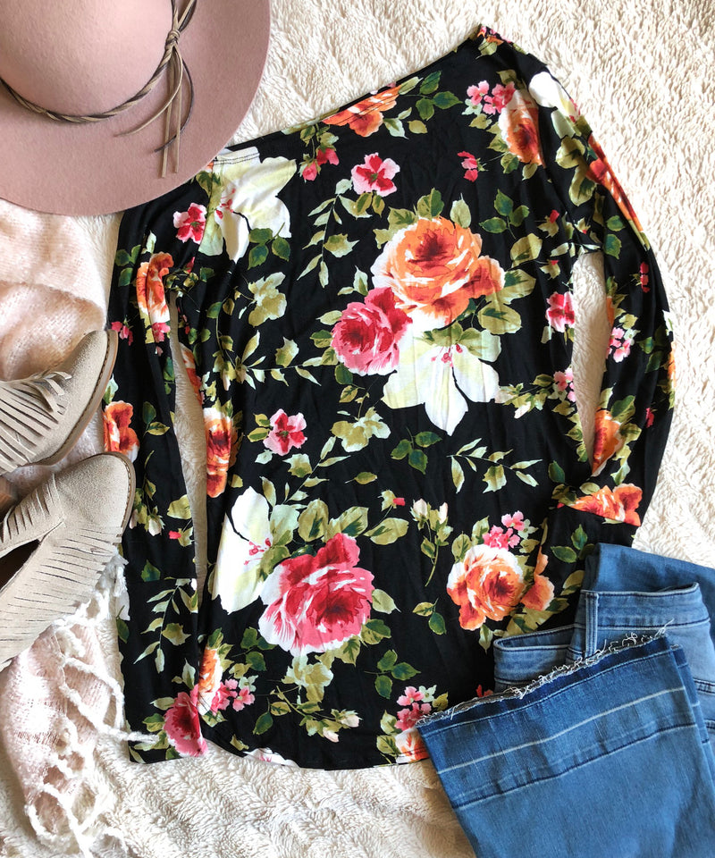 PLUS-OFF SHOULDER FLORAL THUMBHOLE TOP