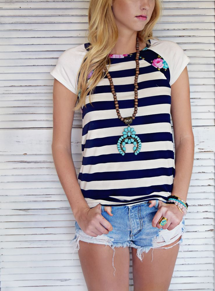 Floral and Stripes Spring Top