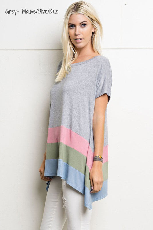Loose fit Color Block Top