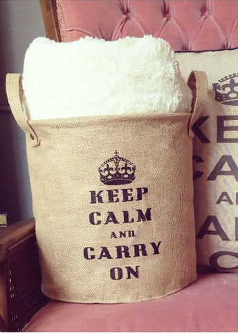 Keep Calm Jute Storage Tote!