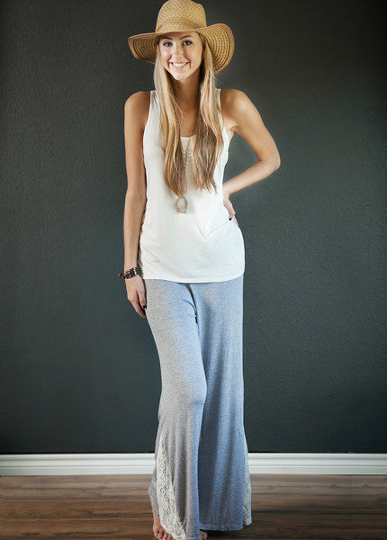 Lace Bottom Fold Over Waist Pants!