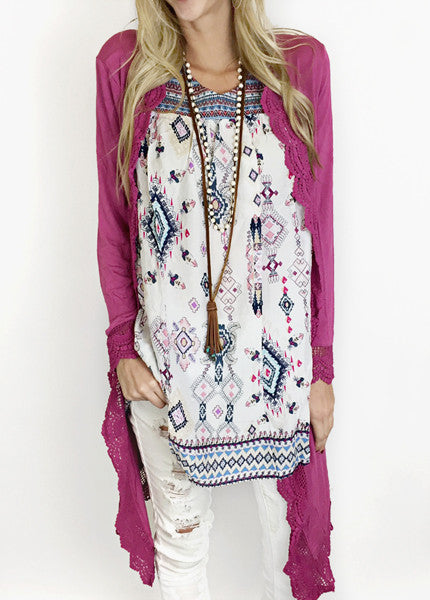 Lace Trim Long Cardigan - 3 Colors!