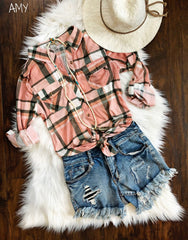 Jersey Plaid Button Down Shirt!