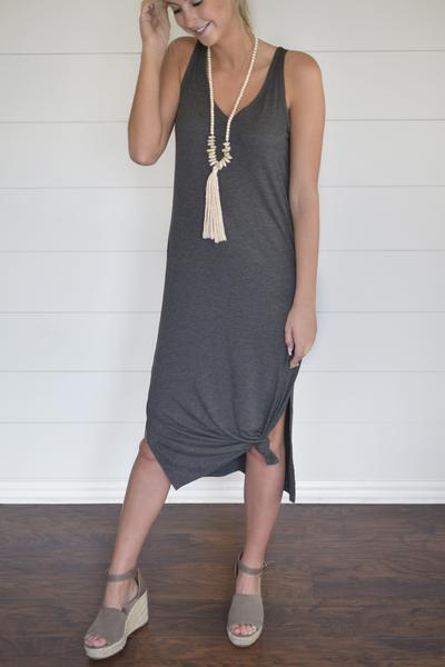 SUMMER VIBES DOUBLE V-NECK DRESS
