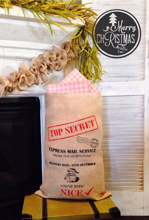 Large Burlap Santa Bag!