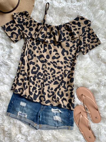 Cheetah Ruffle Top
