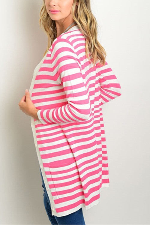 Striped Long Style Cardigan