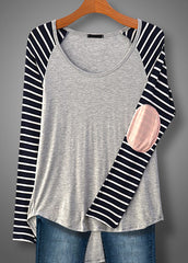 Stripe Sleeve Elbow Patch Top