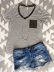 Stripe & Solid V-Neck Tee