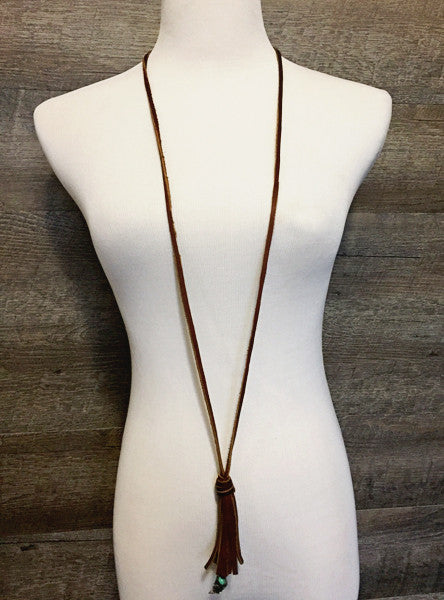 Genuine Leather Tassel Necklace