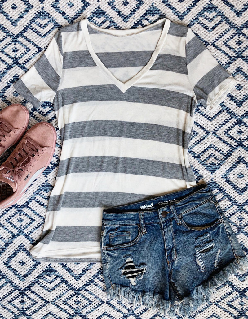 Stripe Casual Vneck