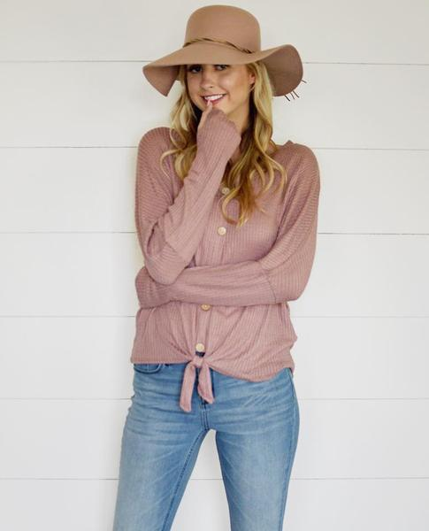 Tie Front Thumbhole Waffle Top