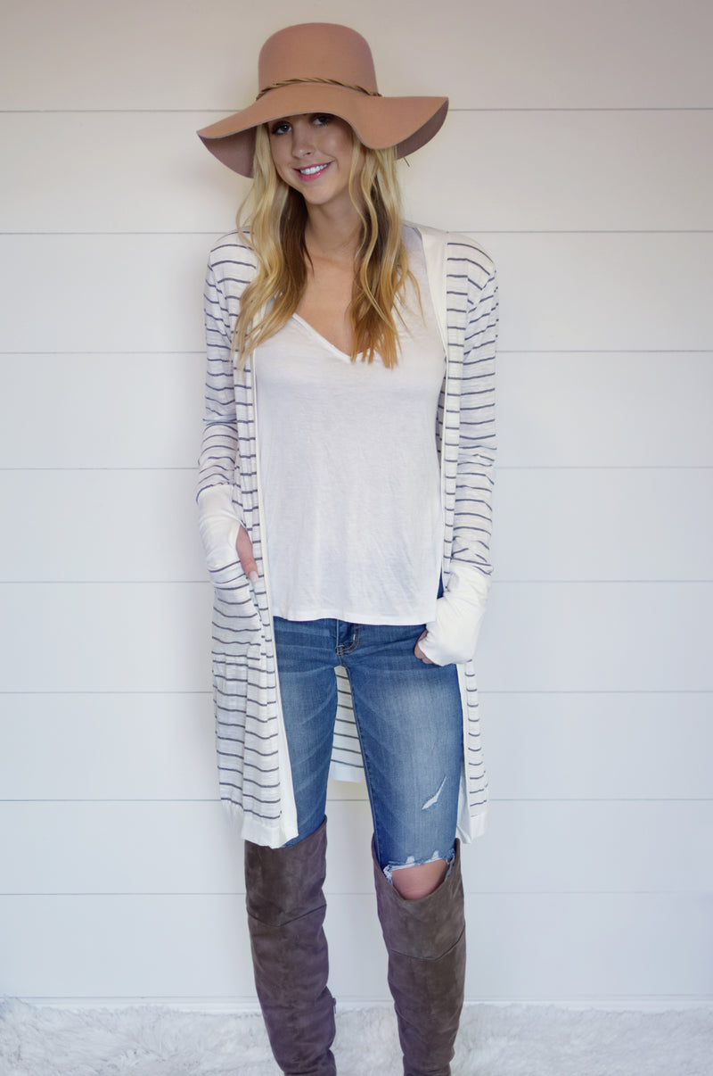 Stripe Thumbhole Cardigan