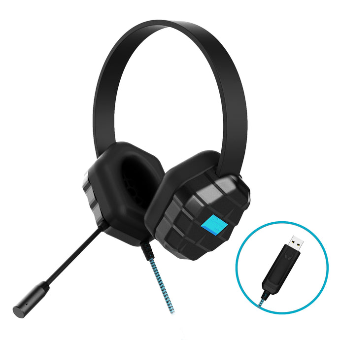 DropTech USB B2 Headset with Volume Adjuster and Microphone - Black 1