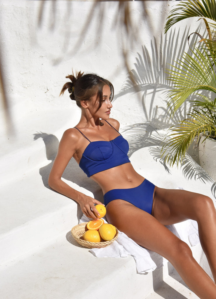 Snejana Jens in Salamander Bikini Positano Bustier and Bamba Bottom in Indigo