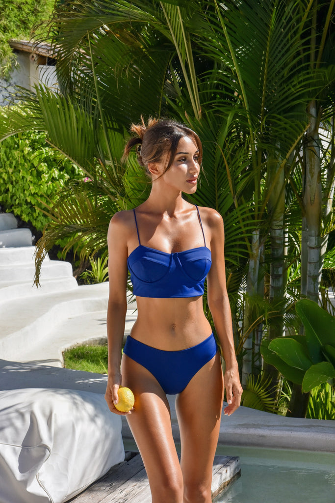 Snejana Jens wearing Salamander Bikini Positano Bustier and Bamba Bottom in Indigo