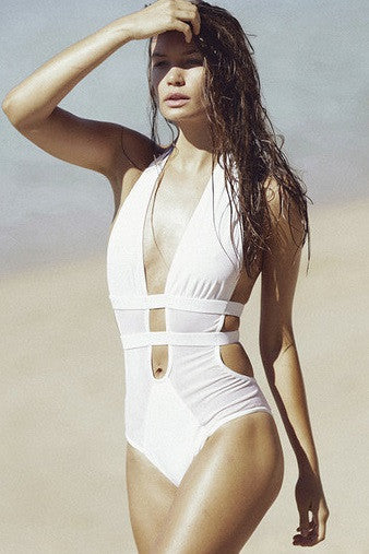 Fella Swim Finn One-piece in White Salamander Shop