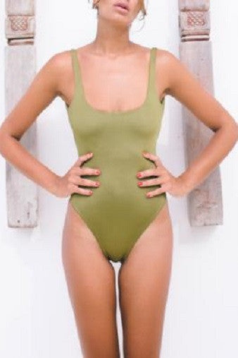 Bayu The Label Biaha One-Piece in Olive Front