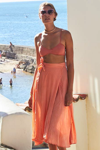 Bower Swimwear Jade Wrap Skirt in Rose Main Salamander Shop