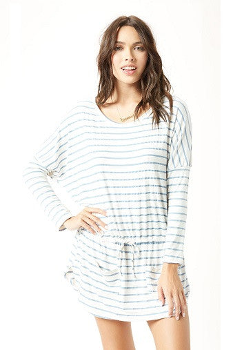 Eberjey Lounge Stripes Slouchy Tunic Front | Salamander Shop