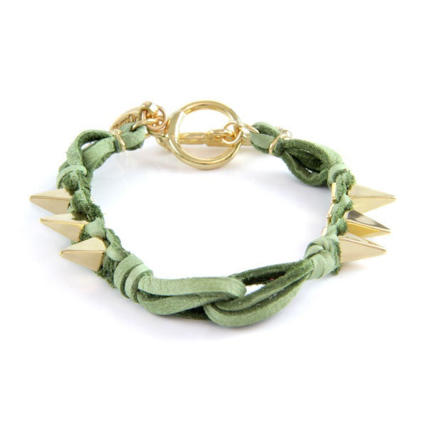 Ettika Leather Spike Bracelet Kiwi Salamander Shop