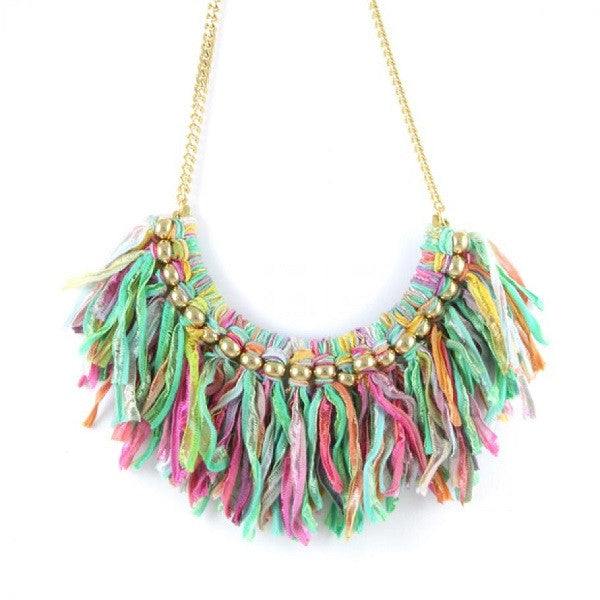 Ettika Bib Necklace Multi Lime Salamander Bikini Shop