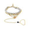 Salamander Bikini Ettika Leather chain Tear drop Crystal Bracelet with Finger Sling Gold