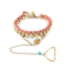 Ettika Leather Chain Tear Drop Crystal Bracelet with Finger Sling Peach Salamander