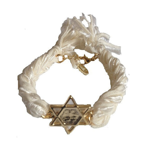 Ettika Gold Star of David Motif Vintage Ribbon Bracelet
