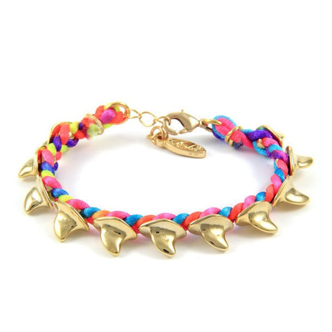 Ettika Shark Fin Beads Braided Multi Blend Satin Cord Bracelet