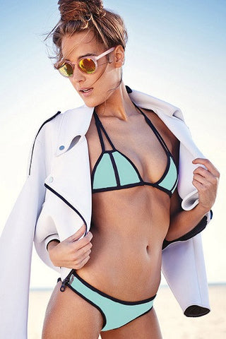 Lisa Lozano Neoprene Bikini in Mint