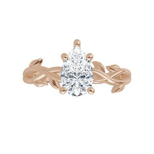 Rose Gold Moissanite Engagement Ring Leaf Design