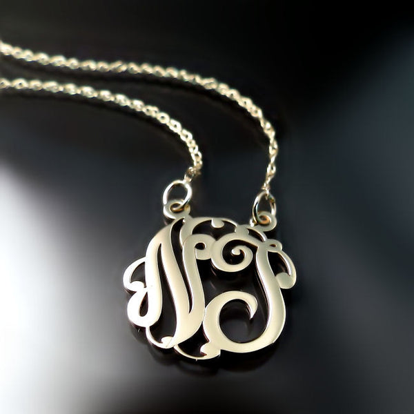 shop high quality solid gold monogram necklace