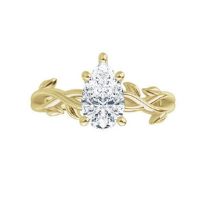 Yellow Gold Moissanite Engagement Ring Leaf Design