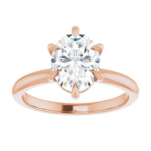 Rose Gold 6 Prong Solitaire Oval Moissanite Engagement Ring