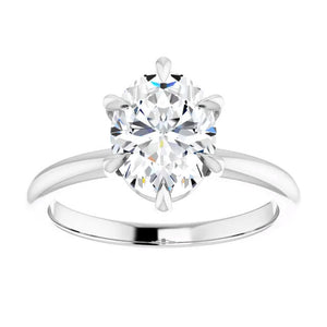 White Gold 6 Prong Solitaire Oval Moissanite Engagement Ring