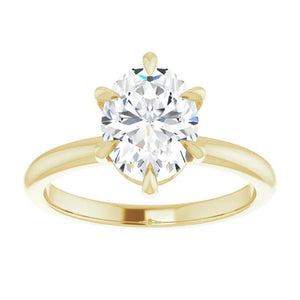 Yellow Gold 6 Prong Solitaire Oval Moissanite Engagement Ring
