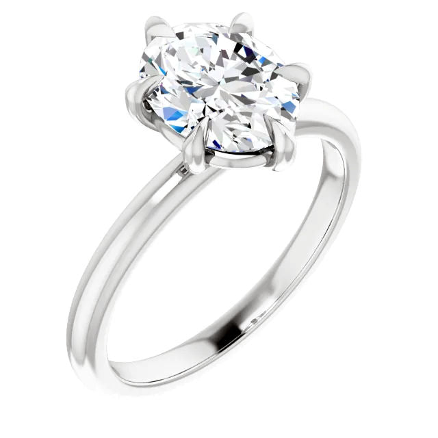 6 Prong Solitaire Oval Moissanite Engagement Ring
