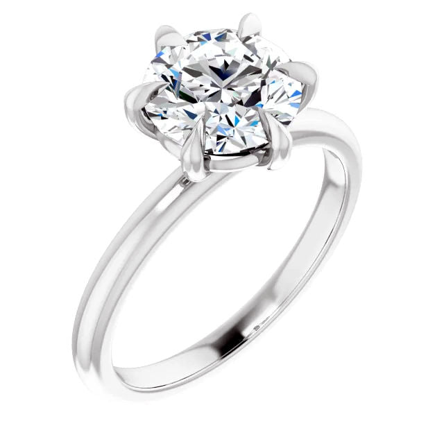 6 Prong Solitaire Round Moissanite Engagement Ring