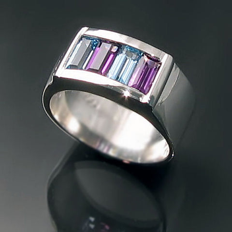 Chunky Silver Channel Ring with Amethyst and Blue Topaz