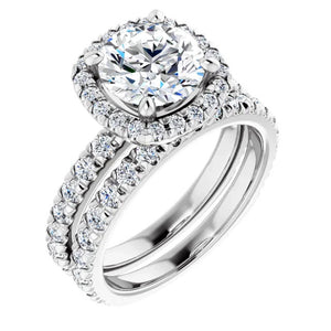 Moissanite Engagement Ring with Diamond Wedding Band