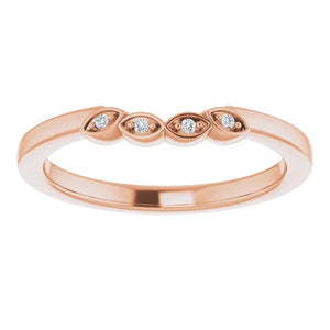 Rose Gold Wedding Band with Diamond Accents