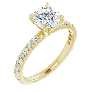 Yellow Gold Moissanite Engagement Ring
