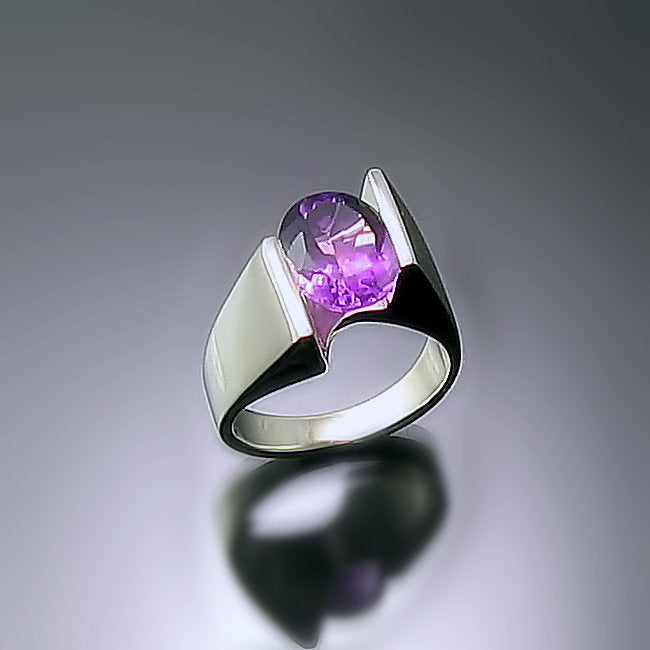 Amethyst Silver Statement Ring