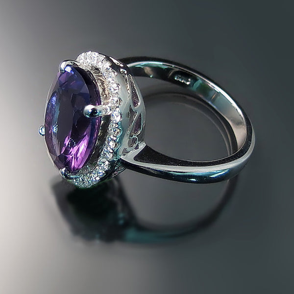 Amethyst Halo Ring with Diamonds - Amethyst Jewelry