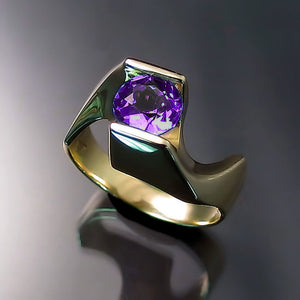 Amethyst FORMA Twist Ring in 14K Yellow Gold