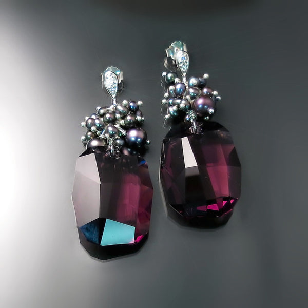 Purple Crystal Statement Earrings