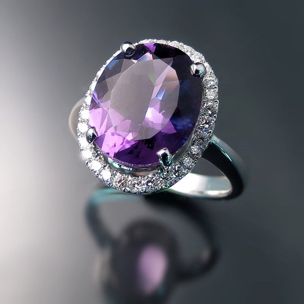 Amethyst and Diamond Halo Ring - Amethyst Jewelry