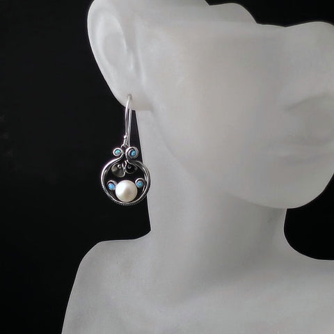 Antique Style Pearl and Opal Earrings - Sterling Silver Jewelry